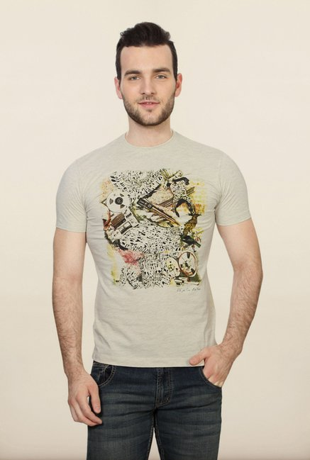 Peter England Light Grey Graphic T shirt