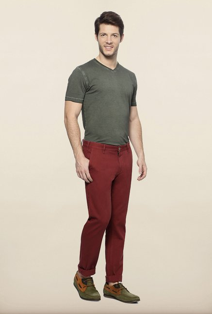 Allen Solly Maroon Solid Casual Trouser
