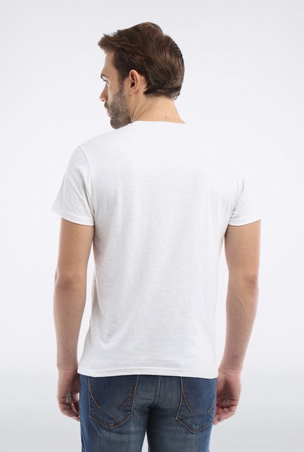 Allen Solly White Solid T shirt