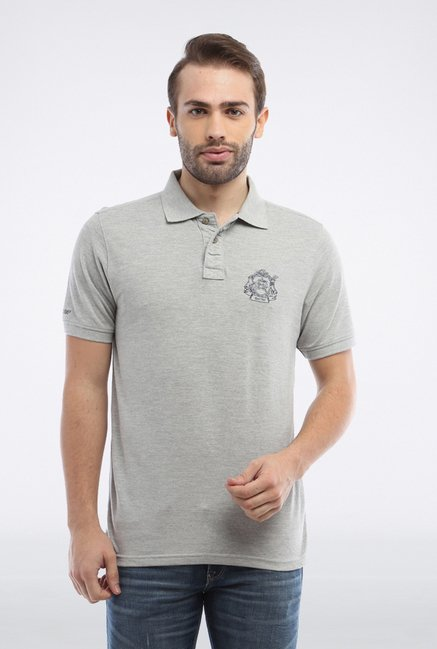 Allen Solly Grey Solid Polo T shirt