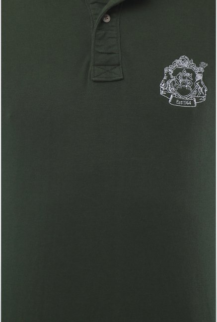 Allen Solly Green Solid Polo T shirt