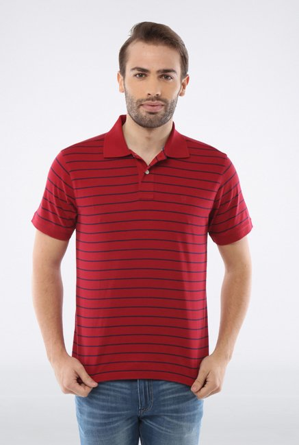 Allen Solly Red Striped Polo T shirt