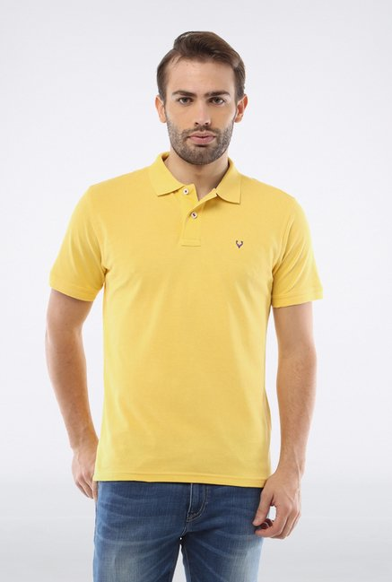 Allen Solly Yellow Solid Polo T shirt