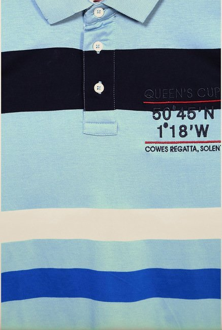 Allen Solly Blue Striped Polo T shirt