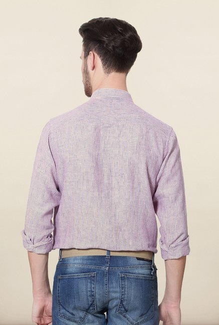 Allen Solly Pink Striped Casual Shirt