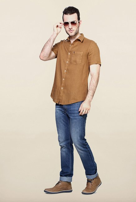 Allen Solly Brown Solid Casual Shirt
