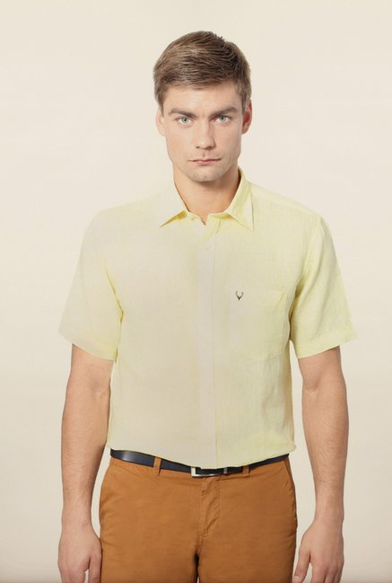 Allen Solly Yellow Solid Casual Shirt