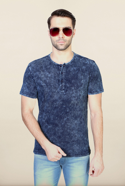 Van Heusen Navy Henley Neck Cotton T Shirt
