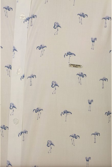 Van Heusen White Printed Slim Fit Shirt
