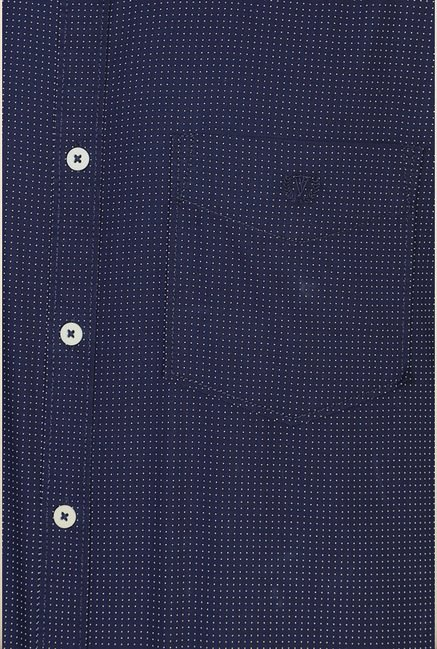Van Heusen Navy Printed Cotton Shirt