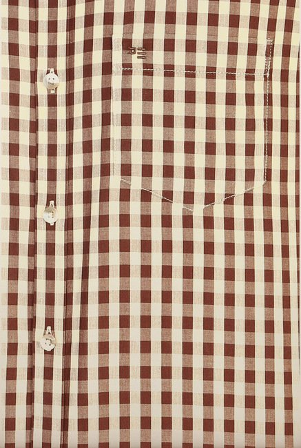 Peter England Brown Checks Casual Shirt