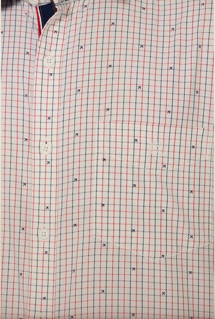 Van Heusen White Checks Shirt