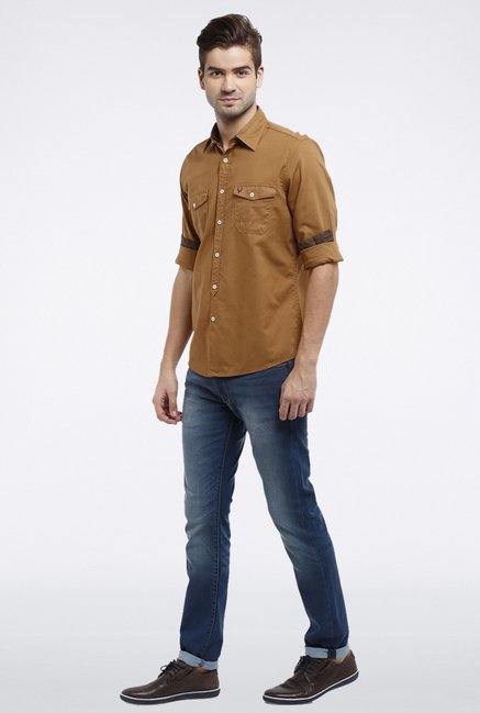 Allen Solly Khaki Solid Casual Shirt