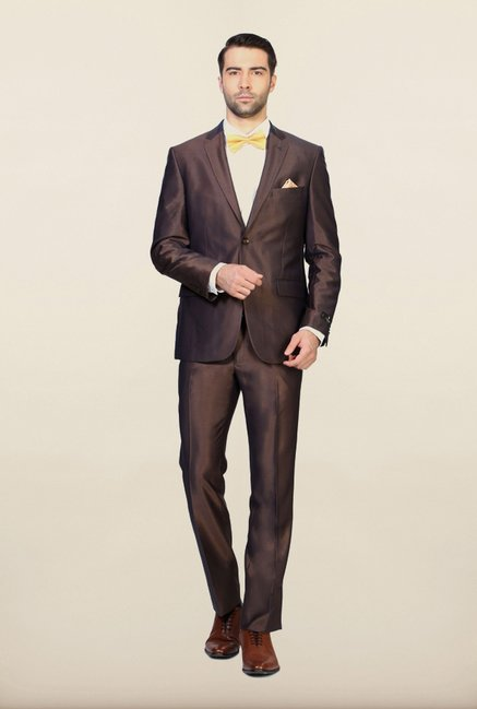 Van Heusen Brown Solid Suit