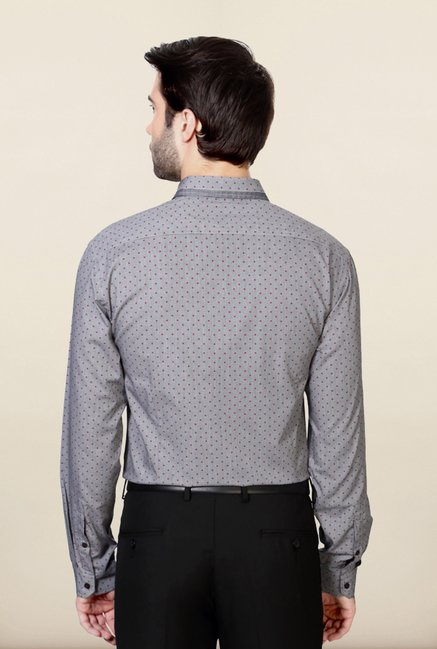Van Heusen Grey Printed Cotton Shirt