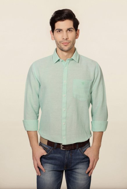 Van Heusen Mint Green Solid Slim Fit Shirt