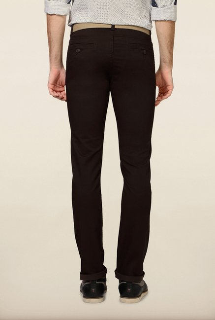 Van Heusen Dark Brown Solid Chinos