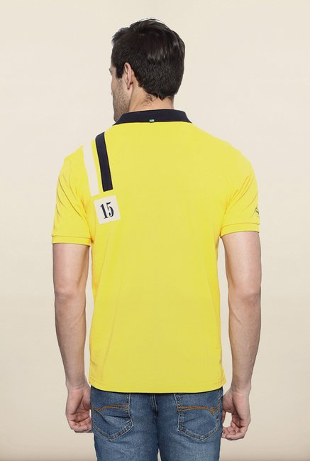 Allen Solly Yellow Printed Polo T shirt