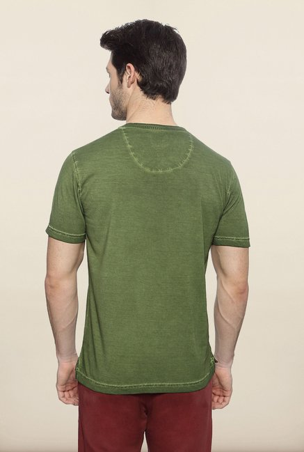 Peter England Green Solid T shirt