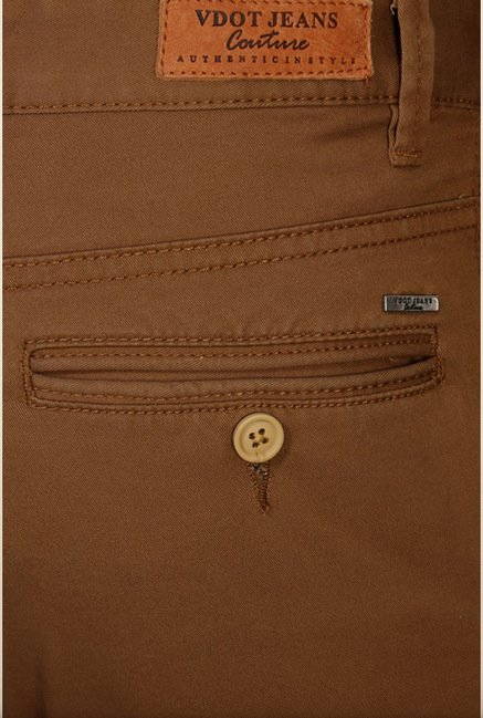 Van Heusen Brown Solid Regular Fit Chinos