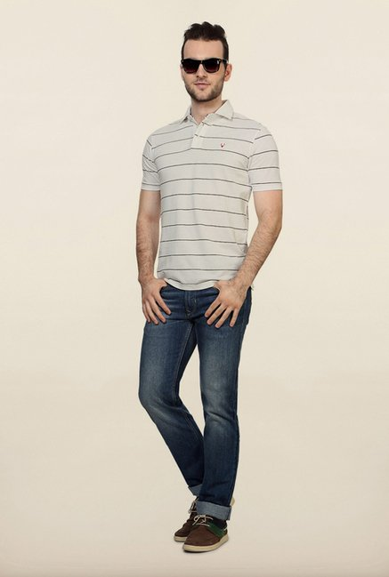 Allen Solly White Striped Polo T shirt