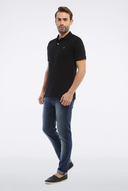 Allen Solly Black Solid Polo T-Shirt