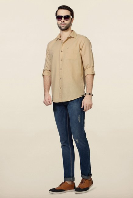 People Beige Solid Shirt