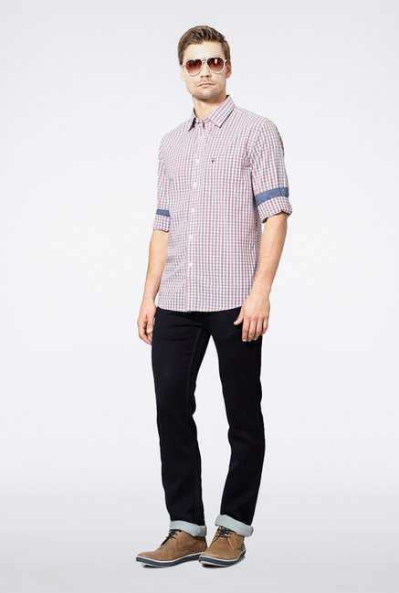 Allen Solly Red Checks Casual Shirt