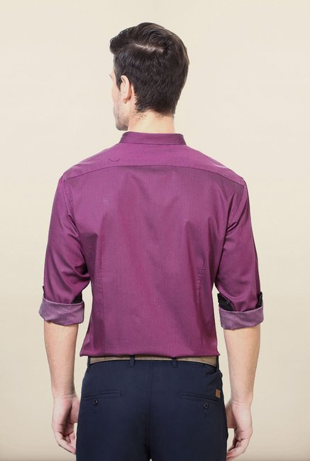 Van Heusen Purple Jacquard Printed Shirt