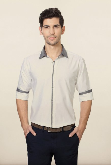 Van Heusen White Self Printed Shirt