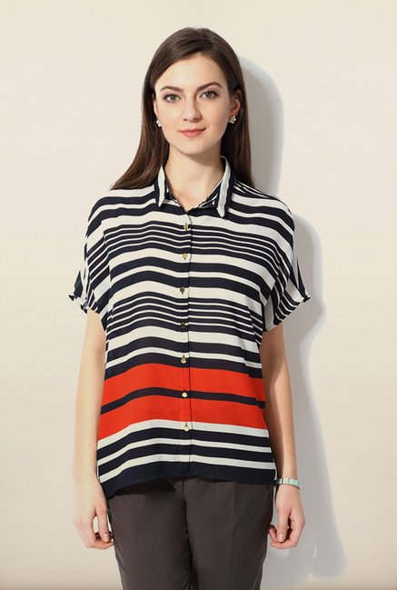 Van Heusen Black Striped Shirt