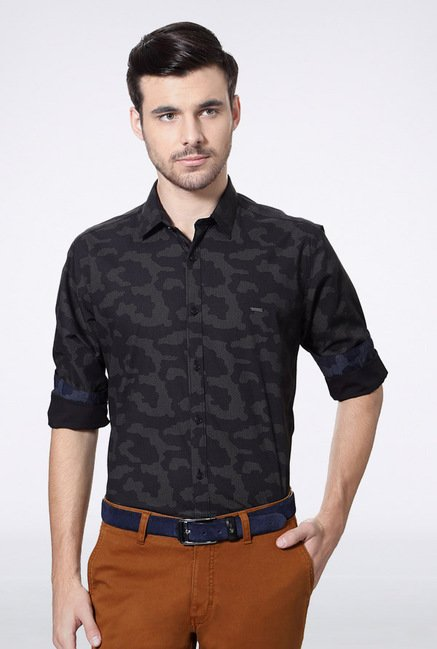Van Heusen Black Printed Casual Shirt