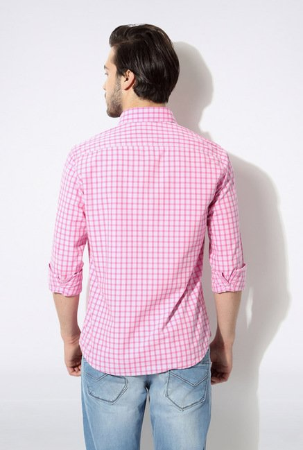 Van Heusen Pink Checks Casual Shirt
