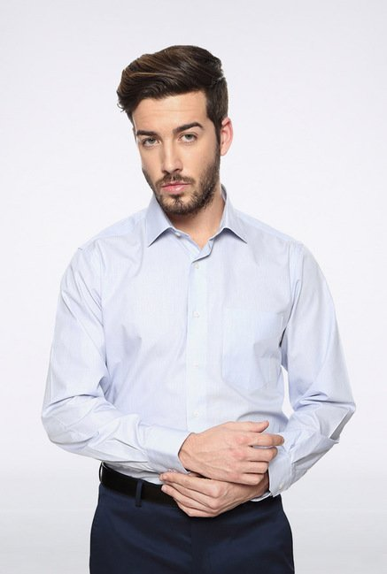 Van Heusen Light Blue Solid Casual Shirt