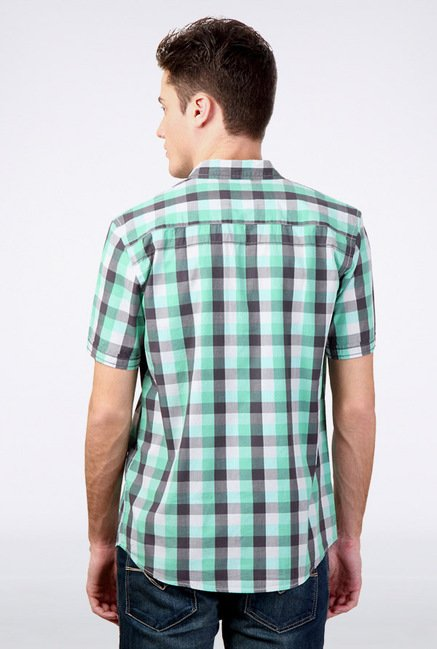 People Green Checks Casual Shirt