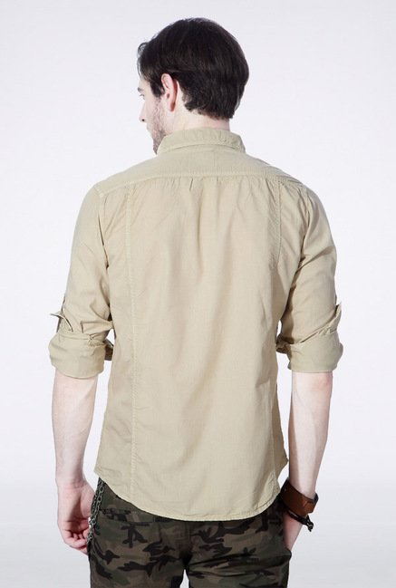 People Cream Solid Casual Shirt