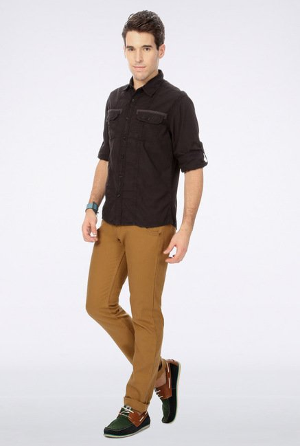 People Brown Solid Casual Shirt