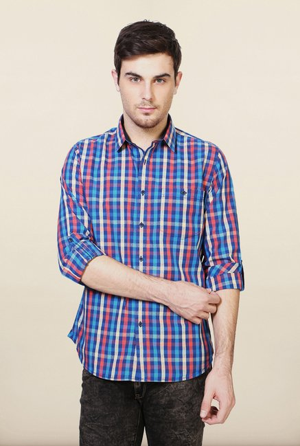 Van Heusen Blue Slim Fit Cotton Shirt