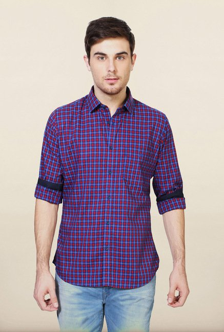 Van Heusen Blue & Red Checks Shirt