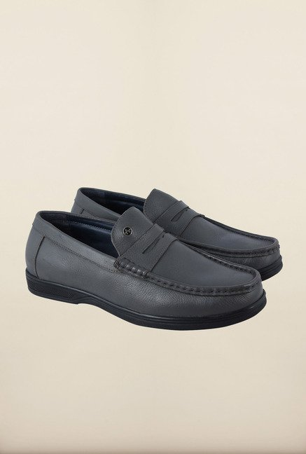 Arrow Grey Leather Moccasin Shoes