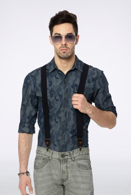 People Blue Printed Casual Shirt