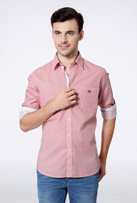 Van Heusen Red Pin Striped Casual Shirt