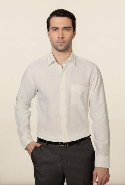 Van Heusen White Solid Shirt