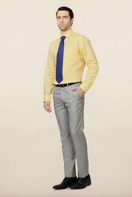 Van Heusen Yellow Solid Linen Shirt
