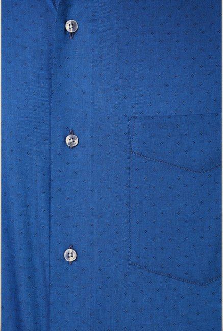 Van Heusen Blue Self Printed Shirt