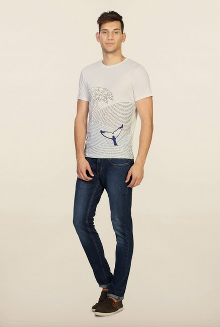 People White Graphic Printed T Shirt