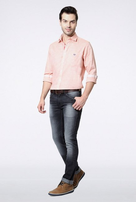 Van Heusen Peach Solid Casual Shirt