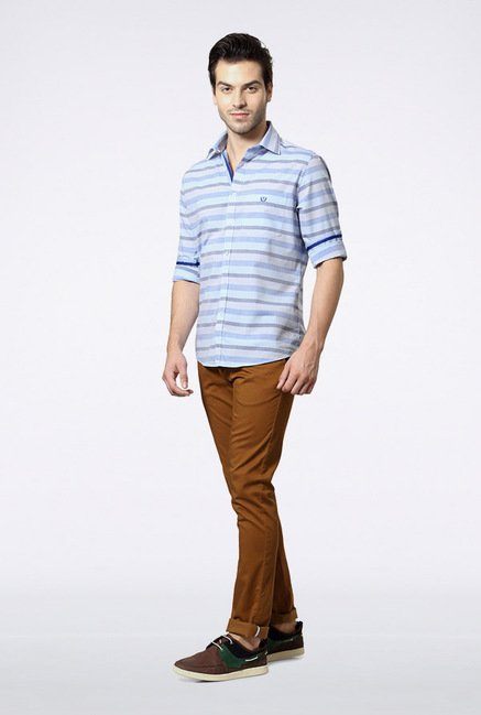 Van Heusen Blue Striped Casual Shirt