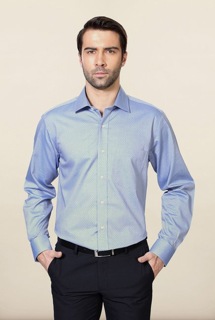 Van Heusen Blue Printed Cotton Shirt