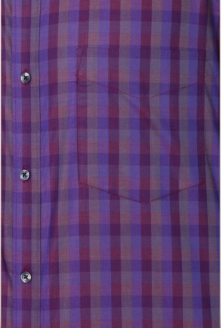 Van Heusen Purple Checks Slim Fit Shirt
